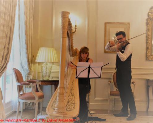 violoniste de mariage avec harpiste en duo